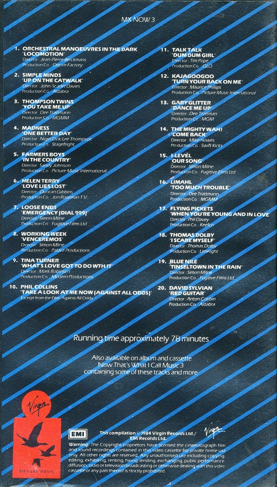 Now That's What I Call Music, Vol. 003 - 1984 - VHS - Verso