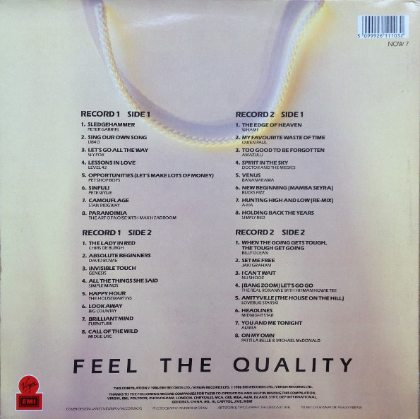 Now That's What I Call Music, Vol. 007 - 1986 - LP - Verso